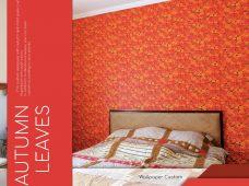 Pemasangan wallpaper motif autumn leaves