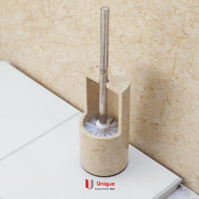 White Marble Toilet Brush Holder with Brush